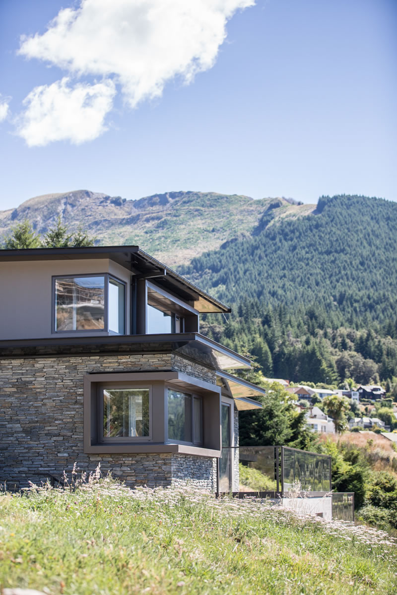Side view of Queenstown home designed for energy efficiency